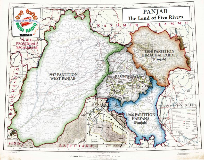 Post Partition Map of the Punjab